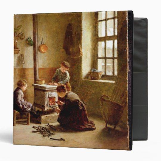 Lighting the Stove, 1886 (oil on panel) 3 Ring Binder