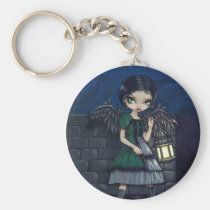art, fantasy, eye, goth fairy, lantern, night, night fairy, angel, gothic angel, eyes, big eye, big eyed, jasmine, becket-griffith, becket, griffith, jasmine becket-griffith, jasmin, strangeling, artist, goth, gothic, fairy, gothic fairy, faery, fairies, faerie, fairie, lowbrow, low brow, big eyes, strangling, fantasy art, original, lowbrow art, pop, surrealism, pop surrealist, painting, Keychain with custom graphic design