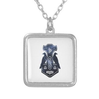 Lighting Thor's Hammer Square Pendant Necklace