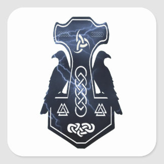 Lighting Thor's Hammer Square Sticker
