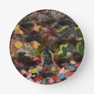 Lightly charmingly flower of four seasons round clock