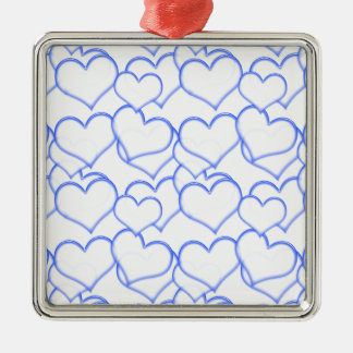 LIGHTLY LAYERED LITTLE BLUE  HEARTS LOVE FRIENDSHI SQUARE METAL CHRISTMAS ORNAMENT