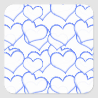 LIGHTLY LAYERED LITTLE BLUE  HEARTS LOVE FRIENDSHI SQUARE STICKER