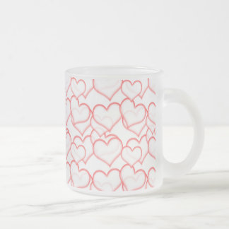 LIGHTLY LAYERED LITTLE RED HEARTS LOVE FRIENDSHIP 10 OZ FROSTED GLASS COFFEE MUG
