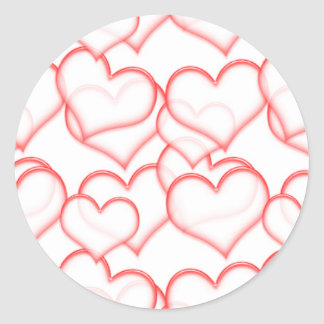 LIGHTLY LAYERED LITTLE RED HEARTS LOVE FRIENDSHIP CLASSIC ROUND STICKER