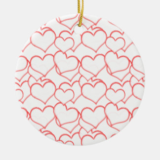 LIGHTLY LAYERED LITTLE RED HEARTS LOVE FRIENDSHIP Double-Sided CERAMIC ROUND CHRISTMAS ORNAMENT