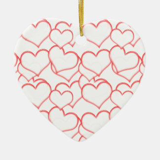 LIGHTLY LAYERED LITTLE RED HEARTS LOVE FRIENDSHIP Double-Sided HEART CERAMIC CHRISTMAS ORNAMENT