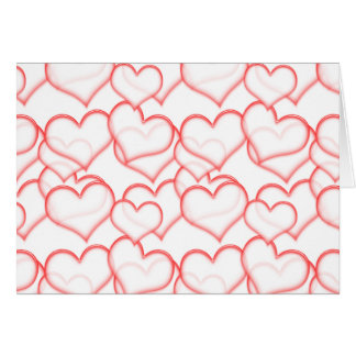 LIGHTLY LAYERED LITTLE RED HEARTS LOVE FRIENDSHIP GREETING CARD