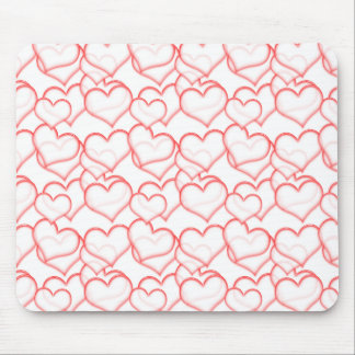 LIGHTLY LAYERED LITTLE RED HEARTS LOVE FRIENDSHIP MOUSE PAD