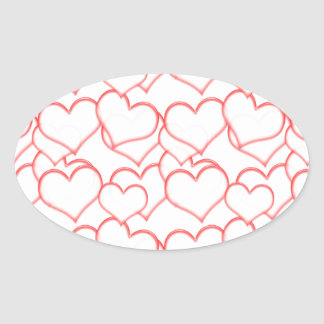 LIGHTLY LAYERED LITTLE RED HEARTS LOVE FRIENDSHIP OVAL STICKER