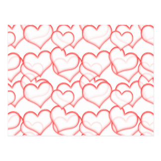 LIGHTLY LAYERED LITTLE RED HEARTS LOVE FRIENDSHIP POSTCARD