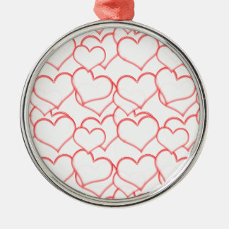 LIGHTLY LAYERED LITTLE RED HEARTS LOVE FRIENDSHIP ROUND METAL CHRISTMAS ORNAMENT