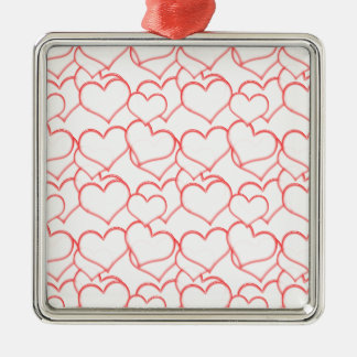 LIGHTLY LAYERED LITTLE RED HEARTS LOVE FRIENDSHIP SQUARE METAL CHRISTMAS ORNAMENT