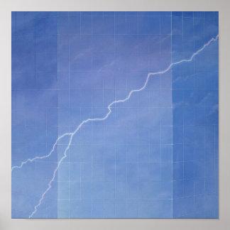 Lightning Across Glass Building Poster