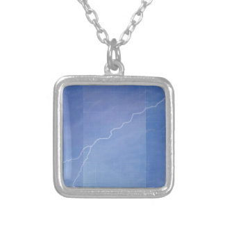 Lightning Across Glass Building Silver Plated Necklace