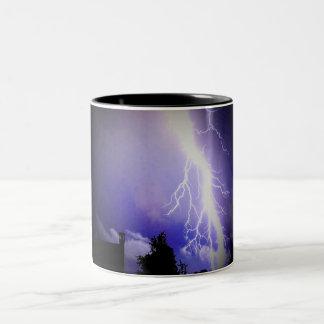 Lightning Among a Dark Sky Two-Tone Coffee Mug