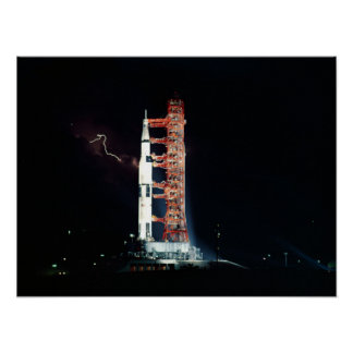 Lightning at Apollo 15 Launch Pad Poster