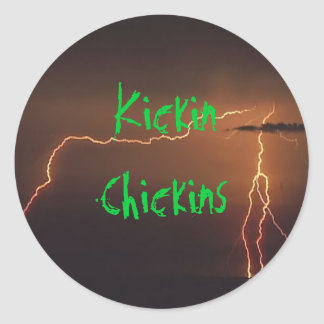 Lightning Background, Kickin Chickins Classic Round Sticker