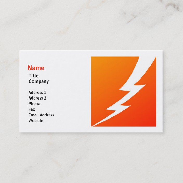Lightning Bolt Business Card Template Zazzle Com
