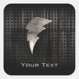 Lightning Bolt; Cool Black Square Sticker