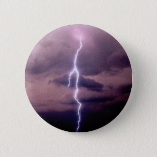 Lightning bolt during thunderstorm pinback button
