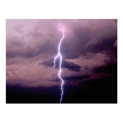 Lightning bolt during thunderstorm postcards