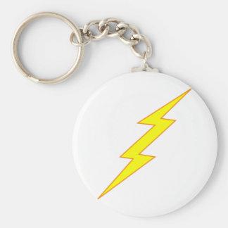 Lightning Bolt Basic Round Button Keychain