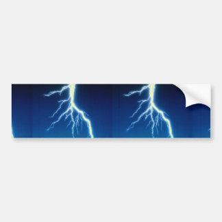 Lightning bolt over blue background car bumper sticker