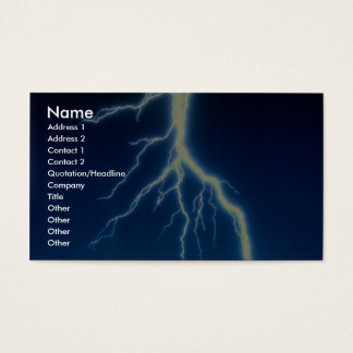 Lightning bolt over blue background business card