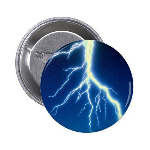 Lightning bolt over blue background 2 inch round button
