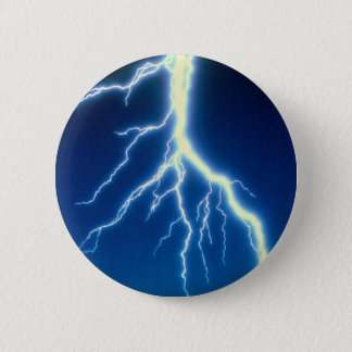 Lightning bolt over blue background pinback button