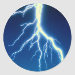 Lightning bolt over blue background classic round sticker