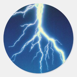 Lightning bolt over blue background stickers