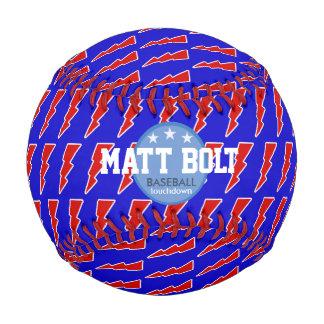 lightning bolt red&blue personalized baseball