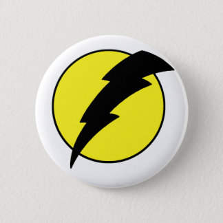 Lightning bolt retro look super hero logo button