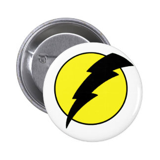 Lightning bolt retro look super hero logo button