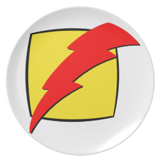 Lightning bolt retro look super hero logo dinner plate