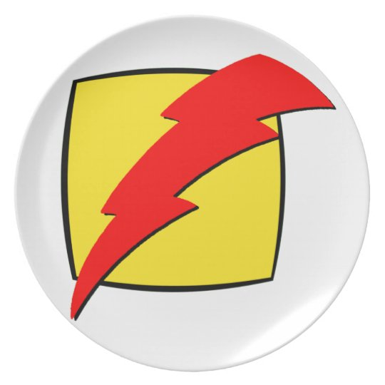 Lightning Bolt Retro Look Super Hero Logo Dinner Plate Zazzle