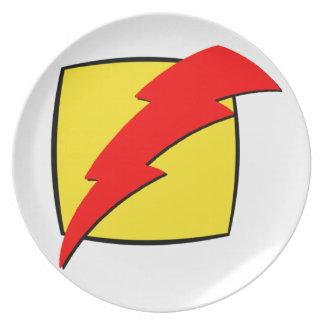 Lightning bolt retro look super hero logo party plates
