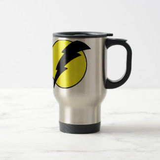 Lightning bolt retro look super hero logo travel mug