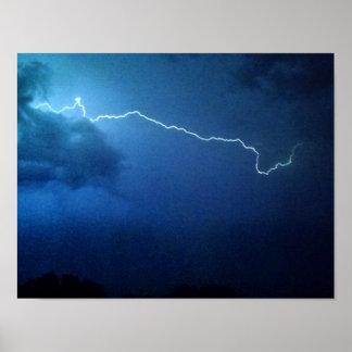 Lightning bolt, thunderstorm, night sky. poster