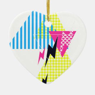 Lightning Bolt Triangle Flash 80's Ceramic Ornament