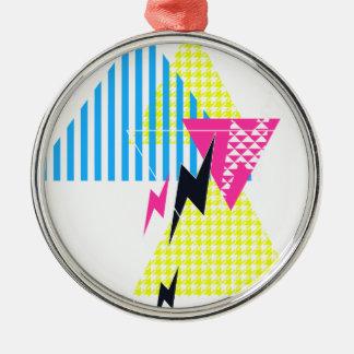 Lightning Bolt Triangle Flash 80's Metal Ornament