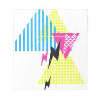 Lightning Bolt Triangle Flash 80's Note Pad