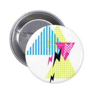 Lightning Bolt Triangle Flash 80's Pinback Button