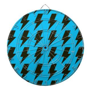 Lightning bolts blue black dartboard with darts