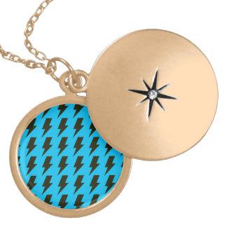 Lightning bolts blue black round locket necklace