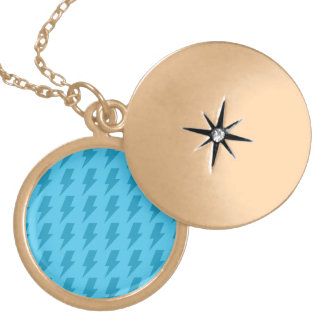 Lightning bolts blues round locket necklace