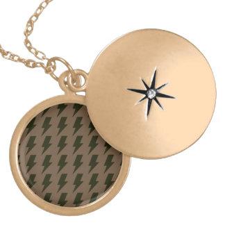 Lightning bolts brown black round locket necklace