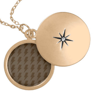 Lightning bolts browns round locket necklace